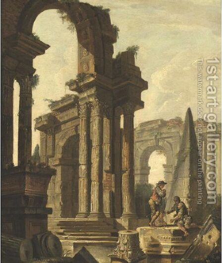 Figures Among Roman Ruins by (after) Hubert Robert - Reproduction Oil Painting