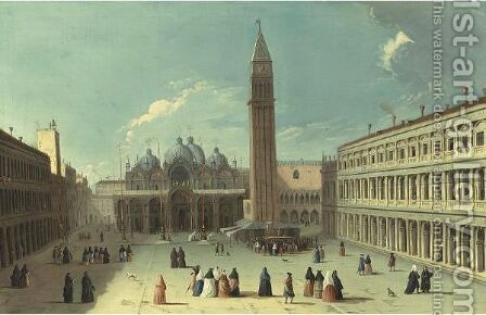 View Of The Piazza San Marco Looking Eastwards Towards The Basilica And The Campanile, Venice by (after) Apollonio Domenichini - Reproduction Oil Painting