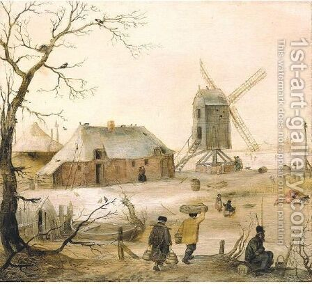 A Winter Landscape With Villagers On A Path By A Frozen River, A Windmill Beyond by Hendrick Avercamp - Reproduction Oil Painting