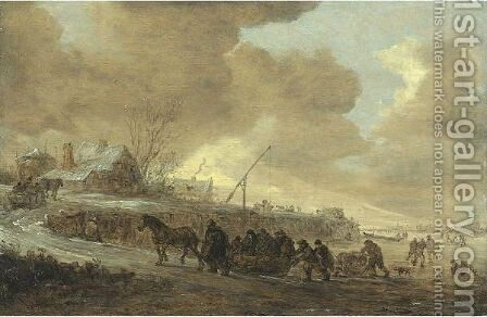 A Frozen River With Horse-Drawn Sleds On A Bank, Cottages Beyond by Jan van Goyen - Reproduction Oil Painting