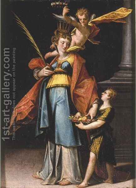 Saint Dorothy by Bartholomaeus Spranger - Reproduction Oil Painting
