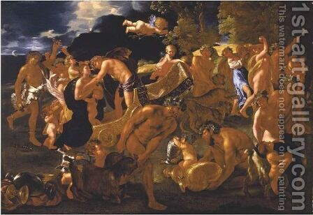 The Meeting Of Bacchus And Ariadne by (after) Nicolas Poussin - Reproduction Oil Painting