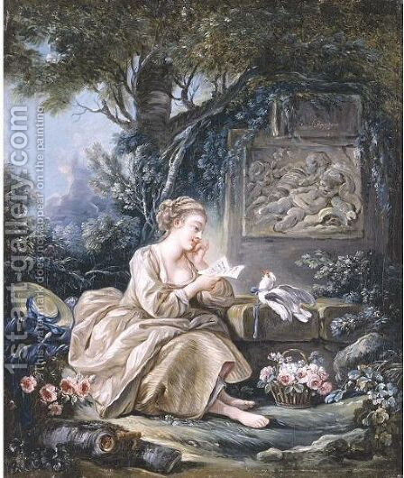 Le Messager Discret by (after) Francois Boucher - Reproduction Oil Painting