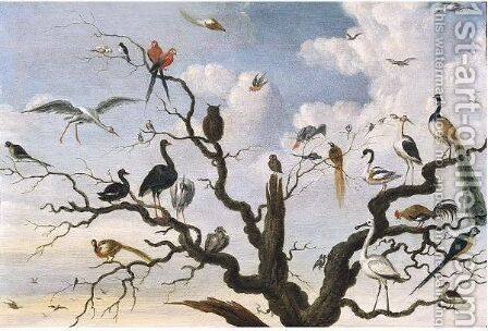 A Pheasant, A Peacock And Other Birds In A Tree by (after) Jacob Bouttats - Reproduction Oil Painting