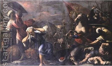 Tommaso Mocenigo Leading The Venetian Army Against The Turks by (after) Jacopo D'Antonio Negretti (see Palma Giovane) - Reproduction Oil Painting