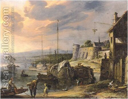 Harbor Scene by Herman Saftleven - Reproduction Oil Painting