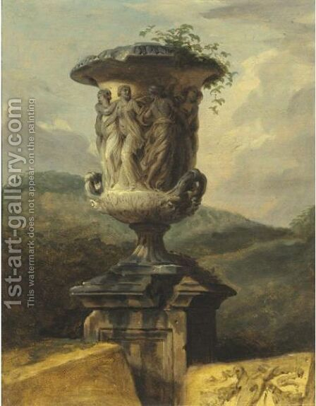 Borghese Urn In A Landscape by (after) Hubert Robert - Reproduction Oil Painting