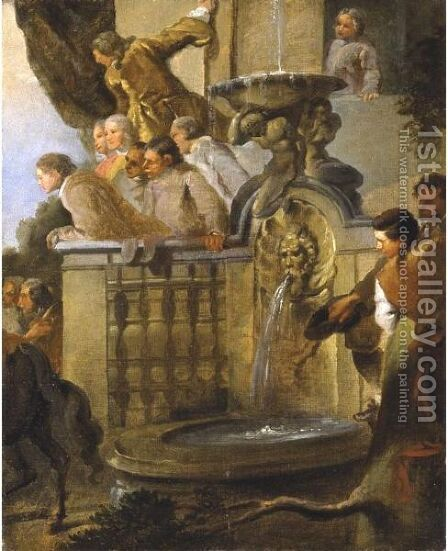 Figures At A Balustrade By A Fountain by Giovanni Paolo Panini - Reproduction Oil Painting