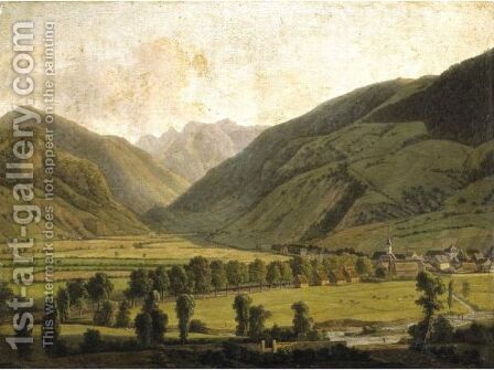 View Of Bagneres-De-Luchon by Alexandre-Louis-Robert-Millin Duperreux - Reproduction Oil Painting