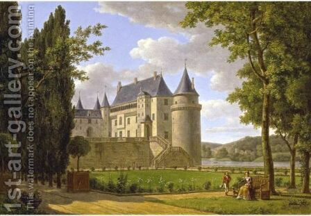 View Of The Chateau De La Guerche by Alexandre-Louis-Robert-Millin Duperreux - Reproduction Oil Painting