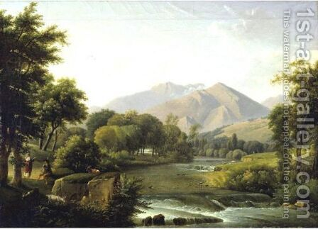Italian Landscape by Alexandre-Hyacinthe Dunouy - Reproduction Oil Painting
