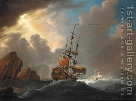 An English Man-Of-War In Three Positions Negotiating A Channel In Heavy Seas by (after) Cornelis Van De Velde - Reproduction Oil Painting
