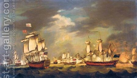 The Moonlight Battle The Battle Of Cape St Vincent, 16th January 1780 by (after) Francis Holman - Reproduction Oil Painting