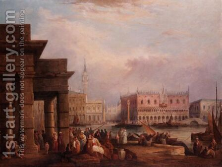 The Doges Palace, Venice From The Dogana by (after) Edward Pritchett - Reproduction Oil Painting
