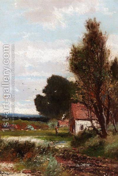 Cottage In The Woodland by Abraham Hulk Jun. - Reproduction Oil Painting