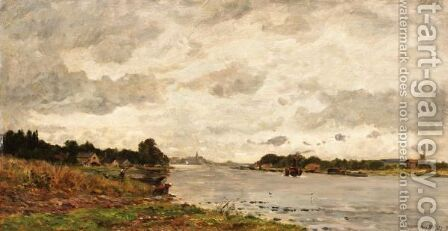 Riverbanks by Hippolyte Camille Delpy - Reproduction Oil Painting