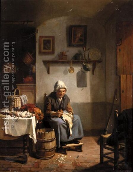 Plucking Fowl by Dutch School - Reproduction Oil Painting