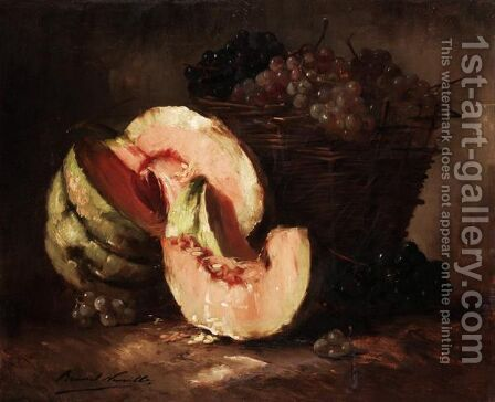 Still Life Of Melons And Grapes by Alphonse de Neuville - Reproduction Oil Painting