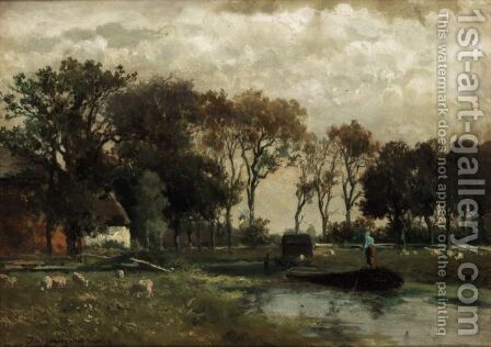 Canal In Holland by (after) Johan Hendrik Weissenbruch - Reproduction Oil Painting