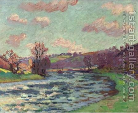 Bords De La Creuse (Barrage De Genetin) by Armand Guillaumin - Reproduction Oil Painting