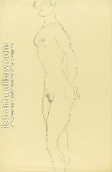 Stehender Akt Nach Links (Standing Nude To The Left) by Gustav Klimt - Reproduction Oil Painting
