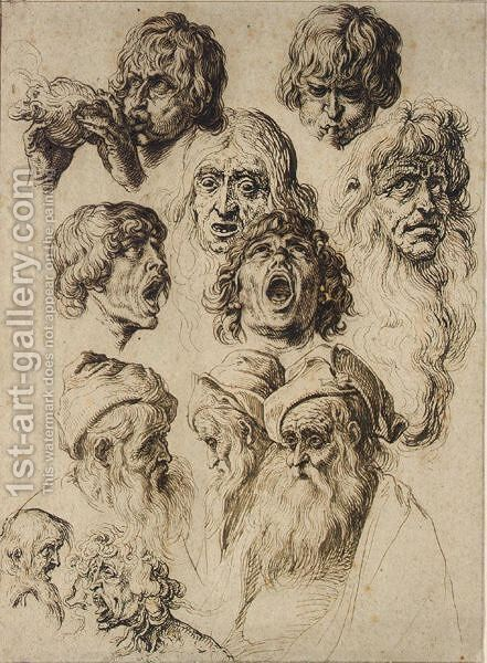 A Sheet Of Eleven Studies Of Heads by Jacques de Gheyn - Reproduction Oil Painting