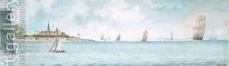 Shipping Off Port Mahon, Minorca by Charles Gore - Reproduction Oil Painting