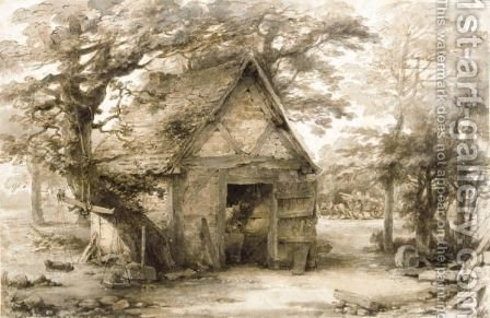 A Cottage By A Stream by Heneage Finch - Reproduction Oil Painting