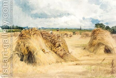 Hay And Wheat Stooks Before The Rain by Edward Duncan - Reproduction Oil Painting