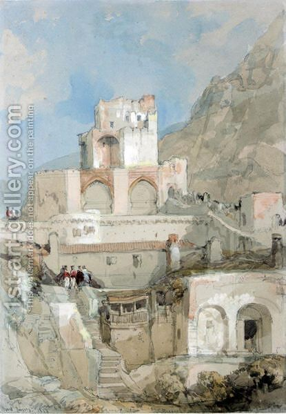 British Soldiers Before The Tower Of The Old Moorish Citadel In Gibraltar by David Roberts - Reproduction Oil Painting