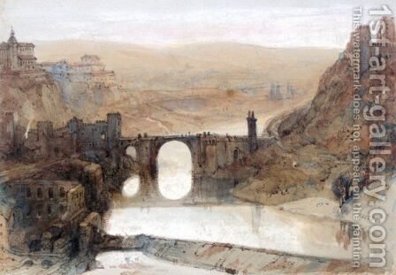 The Bridge Of Toledo by David Roberts - Reproduction Oil Painting