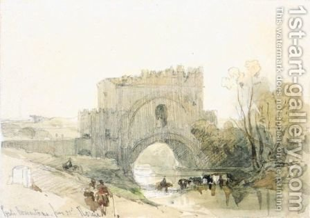 Ponte Nomentano, Rome by David Roberts - Reproduction Oil Painting