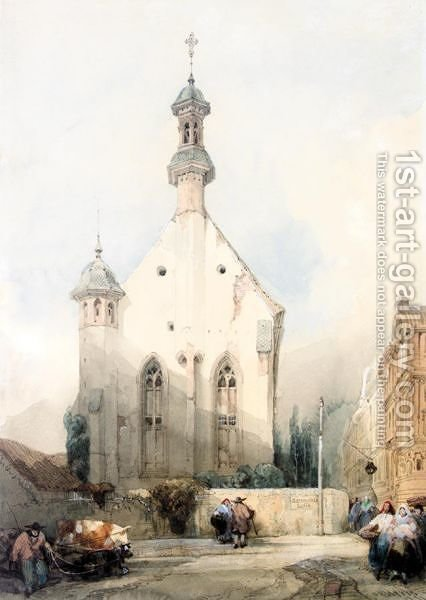 Figures By A Church In Mainz, Germany by David Roberts - Reproduction Oil Painting