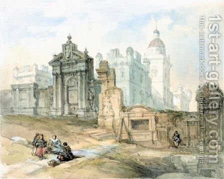 Greyfriars Churchyard, Edinburgh by David Roberts - Reproduction Oil Painting