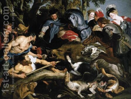 A Boar Hunt 2 by (after) Sir Peter Paul Rubens - Reproduction Oil Painting