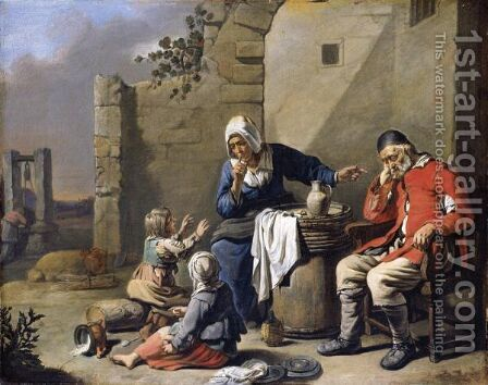 A Family Resting Before A House, With A Mother Silencing Her Children Whilst Her Husband Sleeps by Abraham Willemsens - Reproduction Oil Painting