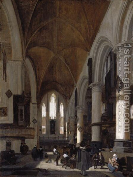 The Interior Of The Oude Kerk, Amsterdam by (after) Emanuel De Witte - Reproduction Oil Painting
