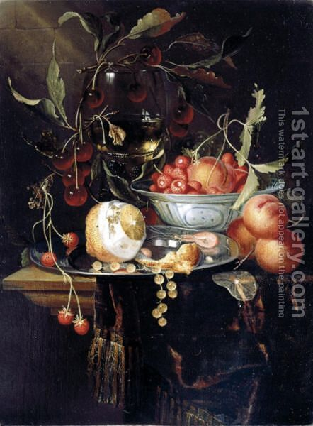 Still Life Of A Peeled Lemon With Prawns And Whitecurrants On A Pewter Dish, With Peaches And Fraises-De-Bois In A Blue-And-White Porcelain Bowl, Cherries And A Roemer, All Upon A Table Partly Draped With A Brown Cloth by Harmen Loeding - Reproduction Oil Painting