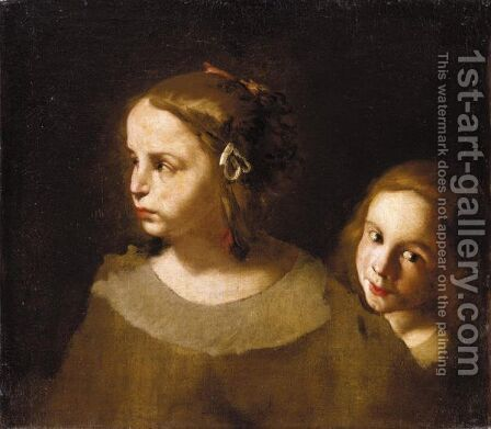 Study Of Two Children, Both Head And Shoulders by (after) Pier Francesco Cittadini - Reproduction Oil Painting