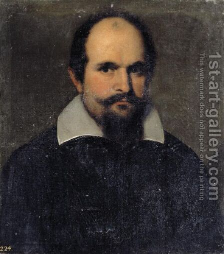 Portrait Of A Gentleman, Head And Shoulders, Wearing Black With A White Collar by (after) Jacopo D'Antonio Negretti (see Palma Giovane) - Reproduction Oil Painting