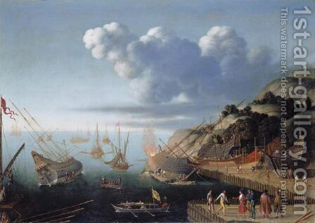 A Ship-Building Port by Agostino Tassi - Reproduction Oil Painting