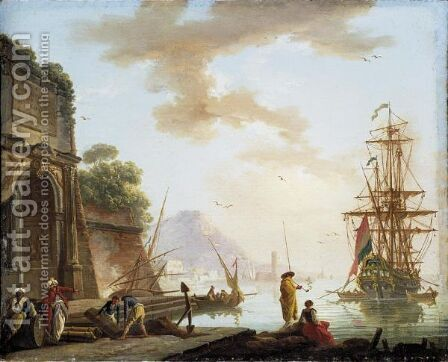 A Mediterranean Sea Port With Orientals Conversing Beneath An Ancient Roman Arch, A Man-O'-War At Anchor Beyond by Charles Francois Lacroix de Marseille - Reproduction Oil Painting