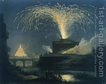 Rome Fireworks (La Girandola) Over Castel Sant' Angelo, St. Peter's Basilica Illuminated Beyond by (after) Pierre-Jacques Volaire - Reproduction Oil Painting