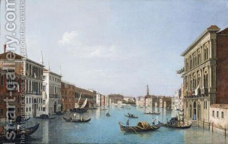 Venice, A View Of The Grand Canal Looking North-West From The Palazzo Vendramin-Calergi To The Church Of San Geremia And The Palazzo Flangini by (after) (Giovanni Antonio Canal) Canaletto - Reproduction Oil Painting