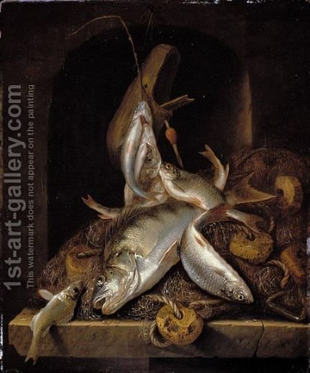 A Still Life Of Freshwater Fish And Fishing Nets, Piled High On A Stone Ledge In A Niche by Jacob Gillig - Reproduction Oil Painting