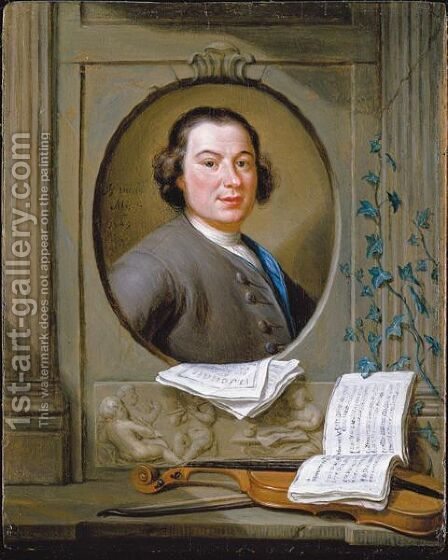 An Allegorical Portrait Of The Composer Anton Wilhelm Solnitz by Hieronymus Van Der Mij - Reproduction Oil Painting