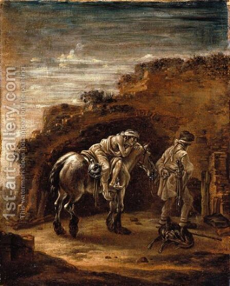 The Good Samaritan, Or A Traveller Resting On His Horse In A Landscape, En Grisaille by Cornelis Verbeeck - Reproduction Oil Painting