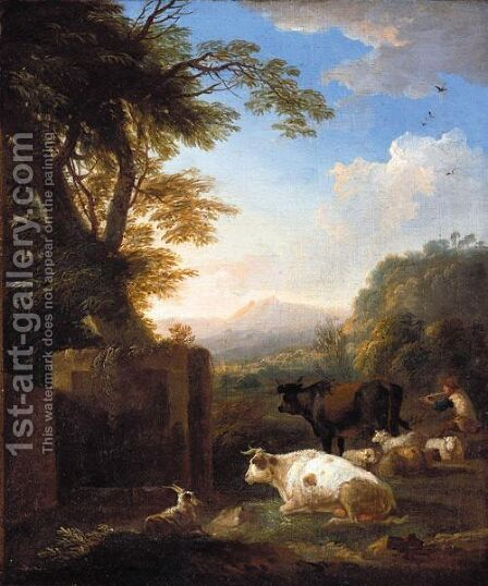 An Italianate Landscape With A Piping Herdsman Tending His Animals by Adriaen Van Diest - Reproduction Oil Painting