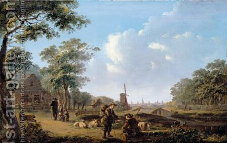 A Village Landscape With A Shepherd Conversing With A Traveller, A City Beyond by Andries Vermeulen - Reproduction Oil Painting