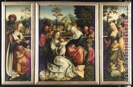 A Triptych Of The Holy Kinship by Master Of Frankfurt - Reproduction Oil Painting